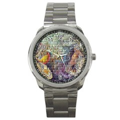 Brick Of Walls With Color Patterns Sport Metal Watch by Nexatart
