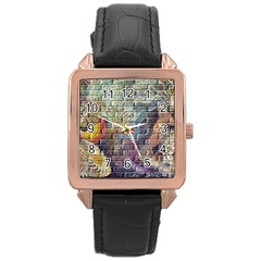 Brick Of Walls With Color Patterns Rose Gold Leather Watch