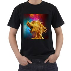 Broncefigur Golden Dragon Men s T Shirt (black) (two Sided)