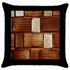 Brown Wall Tile Design Texture Pattern Throw Pillow Case (black) by Nexatart