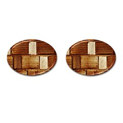 Brown Wall Tile Design Texture Pattern Cufflinks (oval)