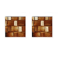 Brown Wall Tile Design Texture Pattern Cufflinks (square) by Nexatart