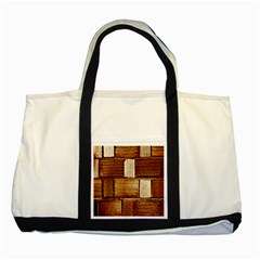Brown Wall Tile Design Texture Pattern Two Tone Tote Bag