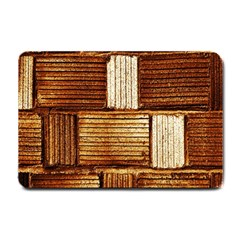 Brown Wall Tile Design Texture Pattern Small Doormat  by Nexatart