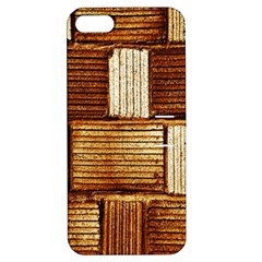 Brown Wall Tile Design Texture Pattern Apple Iphone 5 Hardshell Case With Stand by Nexatart