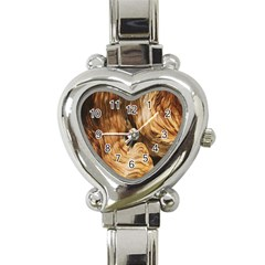 Brown Beige Abstract Painting Heart Italian Charm Watch by Nexatart
