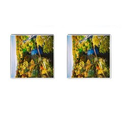 Bridge River Forest Trees Autumn Cufflinks (square) by Nexatart