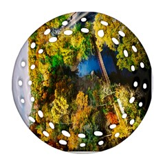 Bridge River Forest Trees Autumn Ornament (round Filigree) by Nexatart