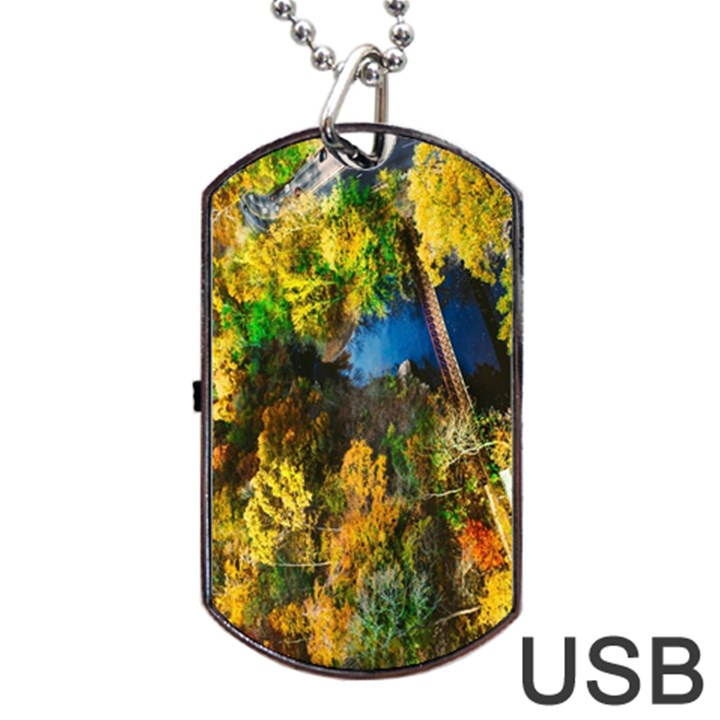 Bridge River Forest Trees Autumn Dog Tag USB Flash (Two Sides)