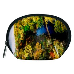 Bridge River Forest Trees Autumn Accessory Pouches (medium)  by Nexatart