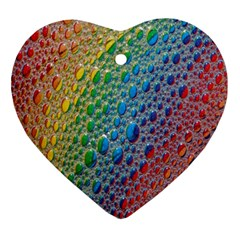 Bubbles Rainbow Colourful Colors Ornament (heart) by Nexatart