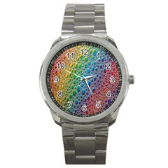Bubbles Rainbow Colourful Colors Sport Metal Watch by Nexatart