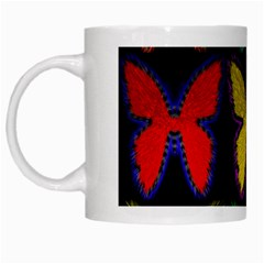 Butterflies Pattern White Mugs