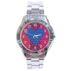Butterfly Heart Pattern Stainless Steel Analogue Watch by Nexatart
