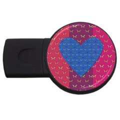 Butterfly Heart Pattern Usb Flash Drive Round (2 Gb) by Nexatart