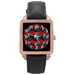 Camera Monitoring Security Rose Gold Leather Watch  by Nexatart