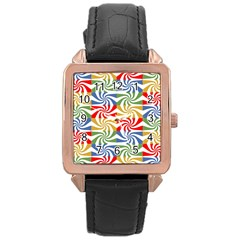 Candy Pattern  Rose Gold Leather Watch  by Nexatart