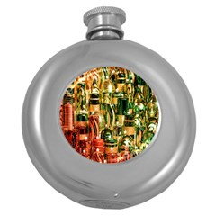 Candles Christmas Market Colors Round Hip Flask (5 Oz) by Nexatart