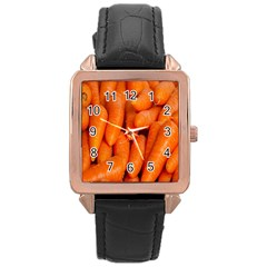 Carrots Vegetables Market Rose Gold Leather Watch  by Nexatart