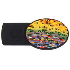 Car Painting Modern Art Usb Flash Drive Oval (2 Gb) by Nexatart