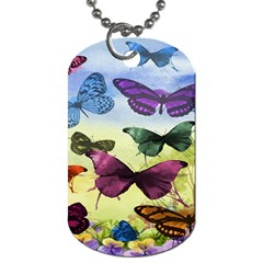 Butterfly Painting Art Graphic Dog Tag (two Sides) by Nexatart