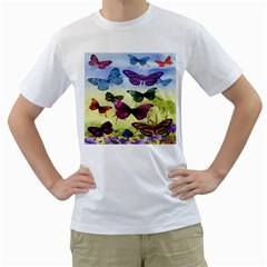 Butterfly Painting Art Graphic Men s T Shirt (white)  by Nexatart