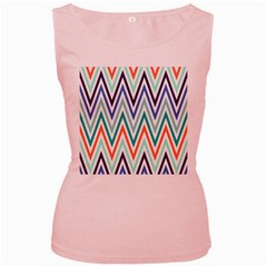 Chevrons Colourful Background Women s Pink Tank Top