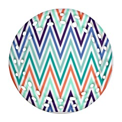 Chevrons Colourful Background Round Filigree Ornament (two Sides)