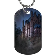 Castle Mystical Mood Moonlight Dog Tag (two Sides) by Nexatart
