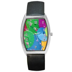 Chinese Umbrellas Screens Colorful Barrel Style Metal Watch by Nexatart