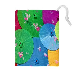 Chinese Umbrellas Screens Colorful Drawstring Pouches (extra Large) by Nexatart