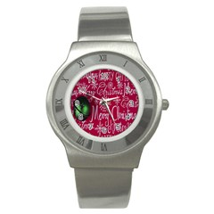 Christmas Decorations Retro Stainless Steel Watch by Nexatart