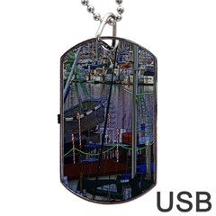 Christmas Boats In Harbor Dog Tag Usb Flash (one Side) by Nexatart