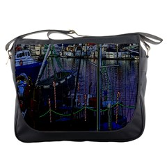 Christmas Boats In Harbor Messenger Bags