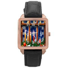 Christmas Lighting Candles Rose Gold Leather Watch  by Nexatart