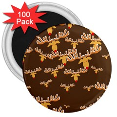 Christmas Reindeer Pattern 3  Magnets (100 Pack) by Nexatart