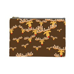 Christmas Reindeer Pattern Cosmetic Bag (large)  by Nexatart