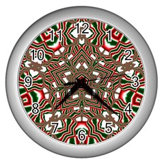 Christmas Kaleidoscope Wall Clocks (silver)  by Nexatart