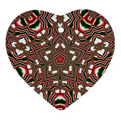 Christmas Kaleidoscope Heart Ornament (two Sides) by Nexatart