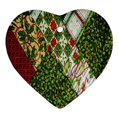 Christmas Quilt Background Ornament (heart) by Nexatart
