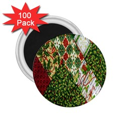 Christmas Quilt Background 2 25  Magnets (100 Pack)