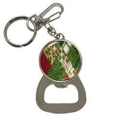 Christmas Quilt Background Button Necklaces