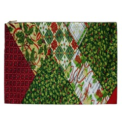 Christmas Quilt Background Cosmetic Bag (xxl)  by Nexatart