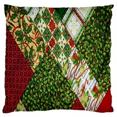 Christmas Quilt Background Large Flano Cushion Case (two Sides) by Nexatart