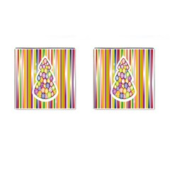 Christmas Tree Colorful Cufflinks (square) by Nexatart