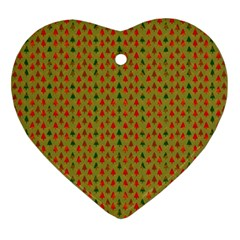 Christmas Trees Pattern Ornament (heart) by Nexatart