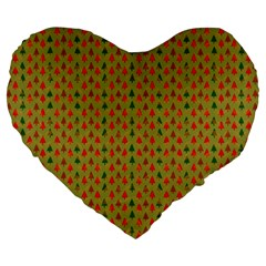 Christmas Trees Pattern Large 19  Premium Flano Heart Shape Cushions by Nexatart