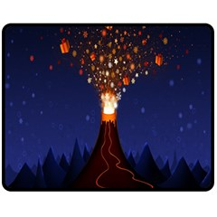 Christmas Volcano Fleece Blanket (medium)  by Nexatart