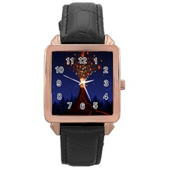 Christmas Volcano Rose Gold Leather Watch