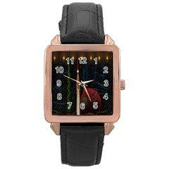 Christmas Xmas Bag Pattern Rose Gold Leather Watch  by Nexatart
